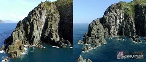通过rv610渲染出的美国夏威夷群岛考艾岛游戏与实际自然场景对比